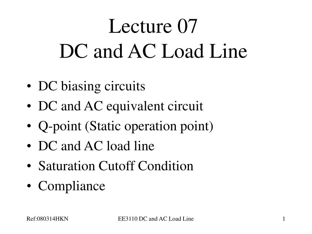 lecture 07 dc and ac load line l.