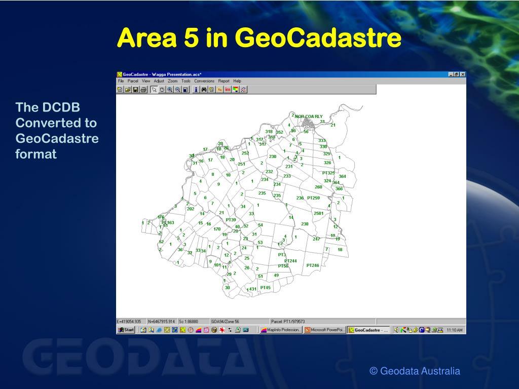 Area 5 in GeoCadastre