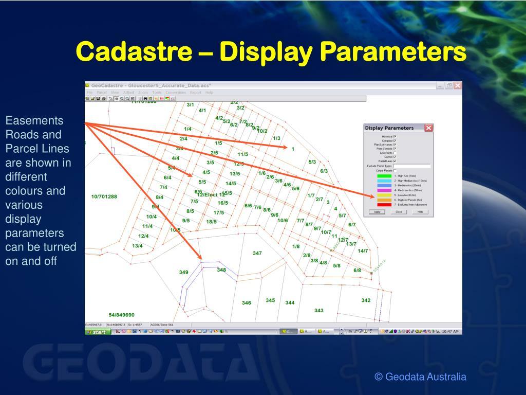Cadastre – Display Parameters