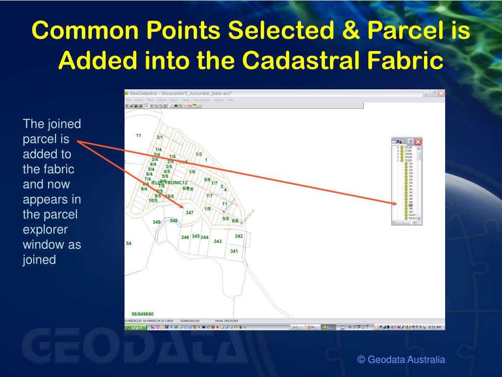 Common Points Selected & Parcel is Added into the Cadastral Fabric