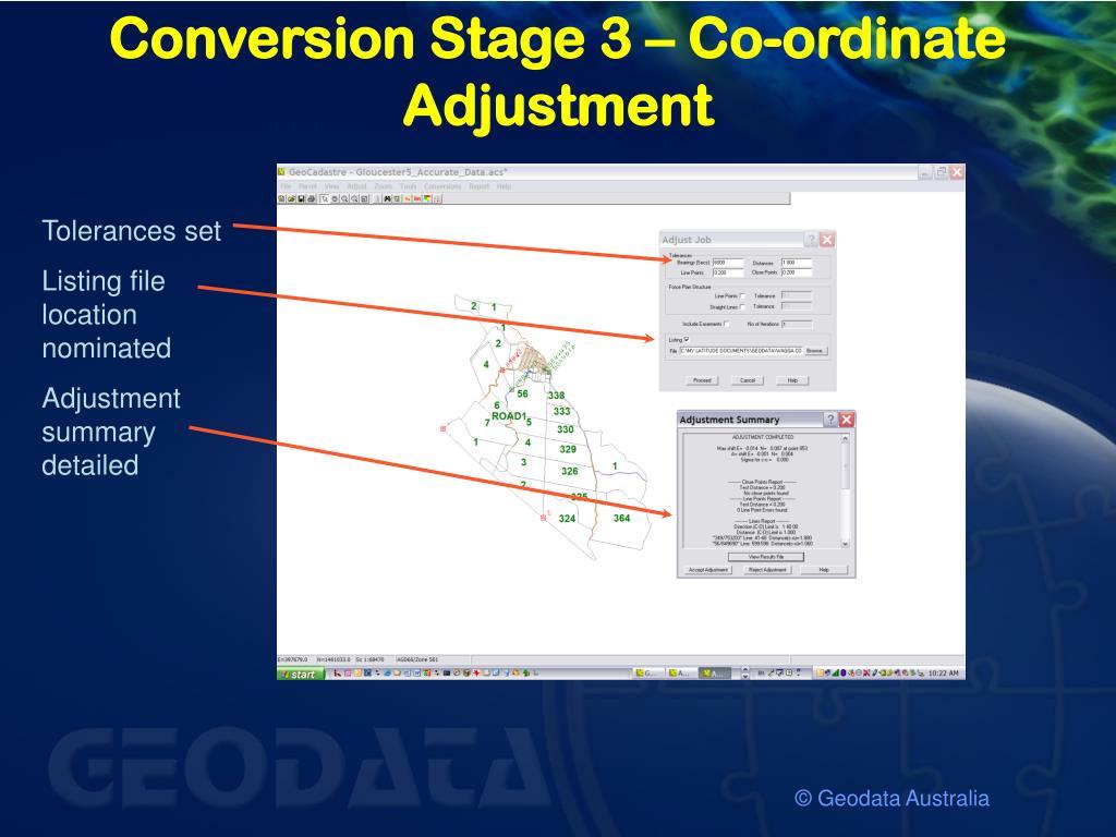 Conversion Stage 3 – Co-ordinate Adjustment