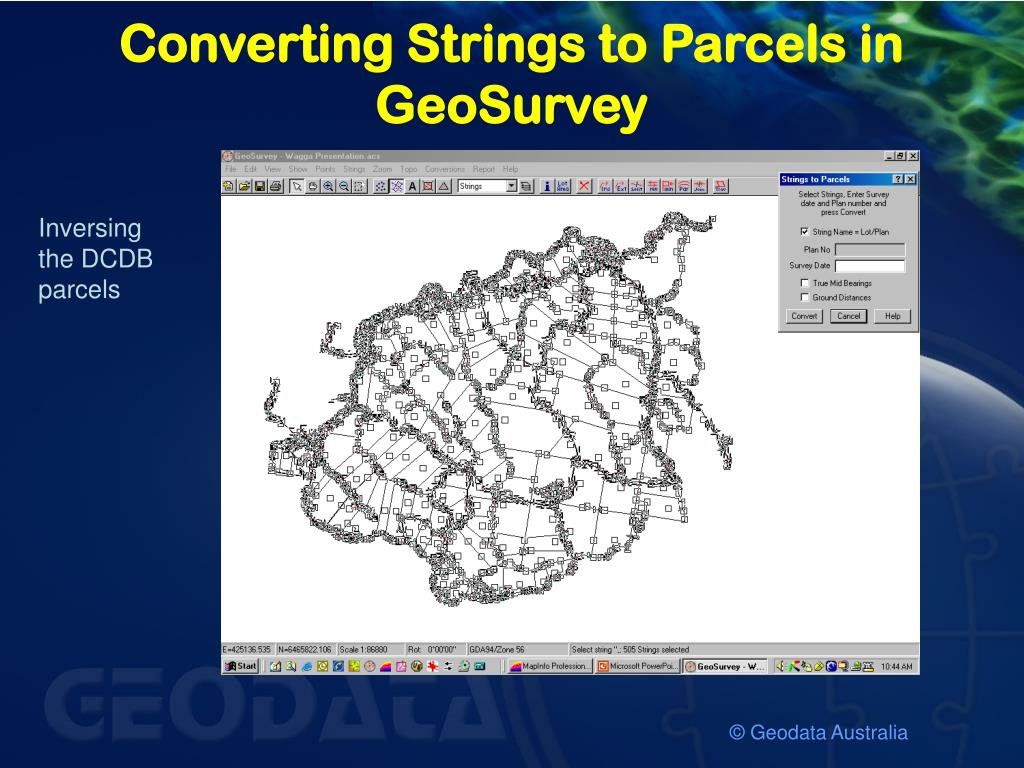 Converting Strings to Parcels in GeoSurvey