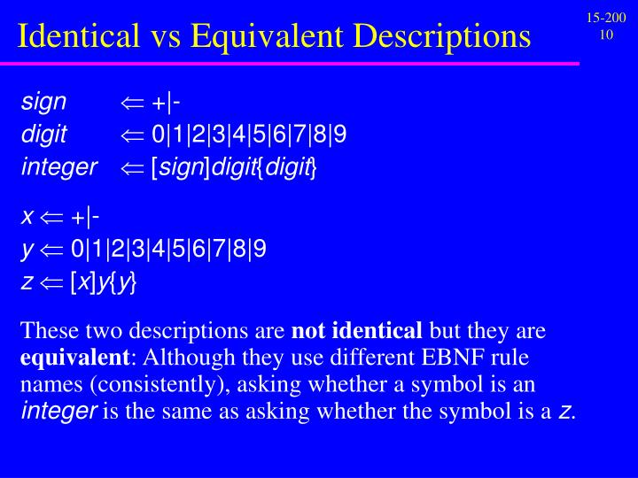Identical vs Equivalent Descriptions