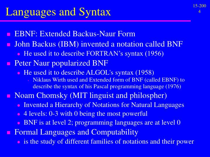 Languages and Syntax