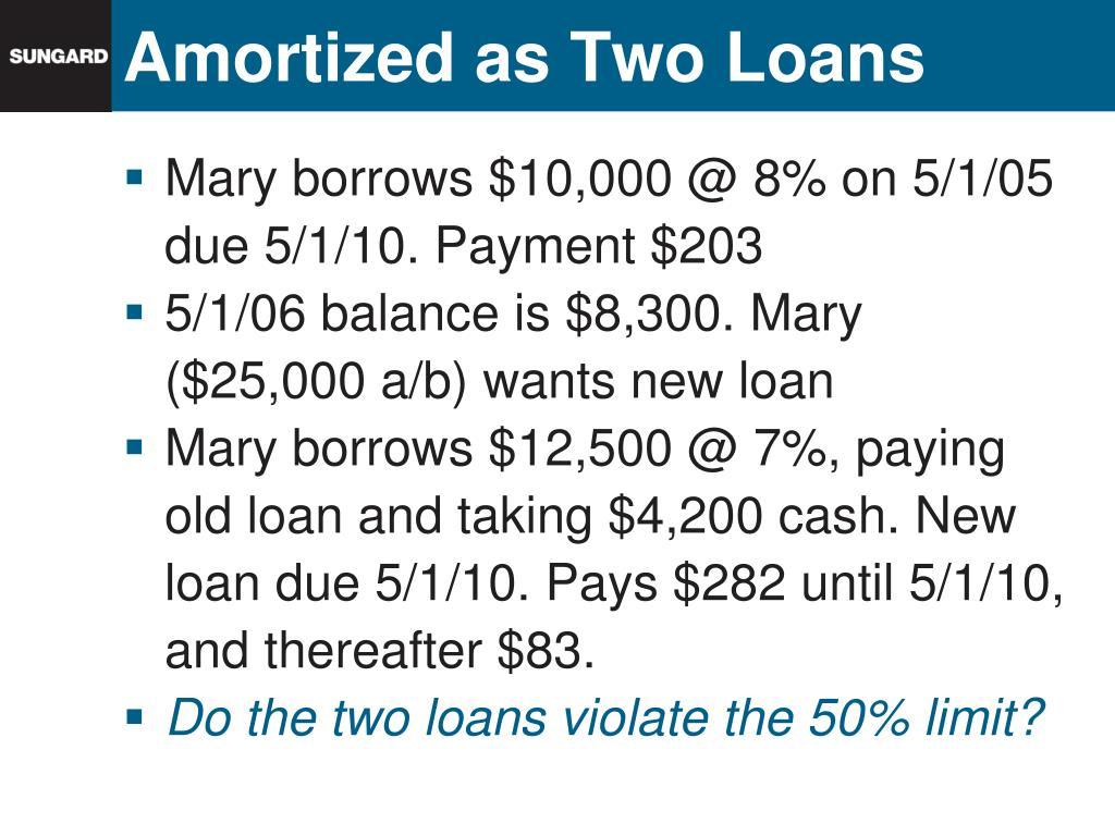 Amortized as Two Loans