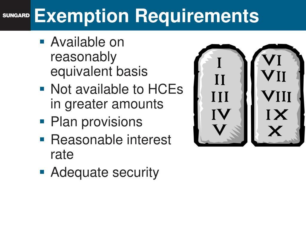 Exemption Requirements