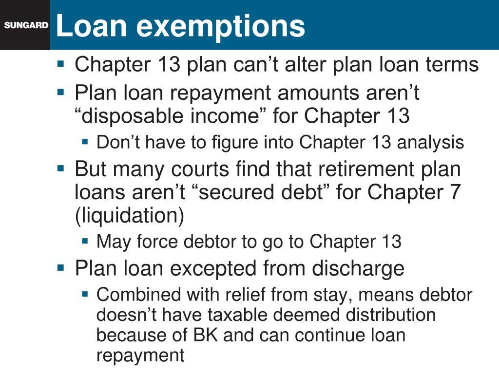 Loan exemptions