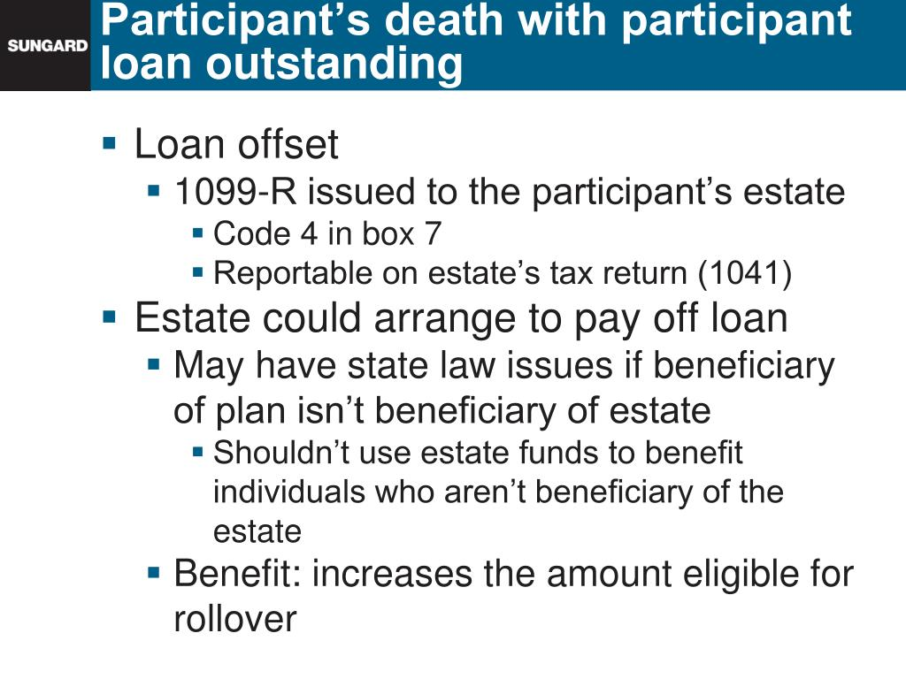 Participant's death with participant loan outstanding