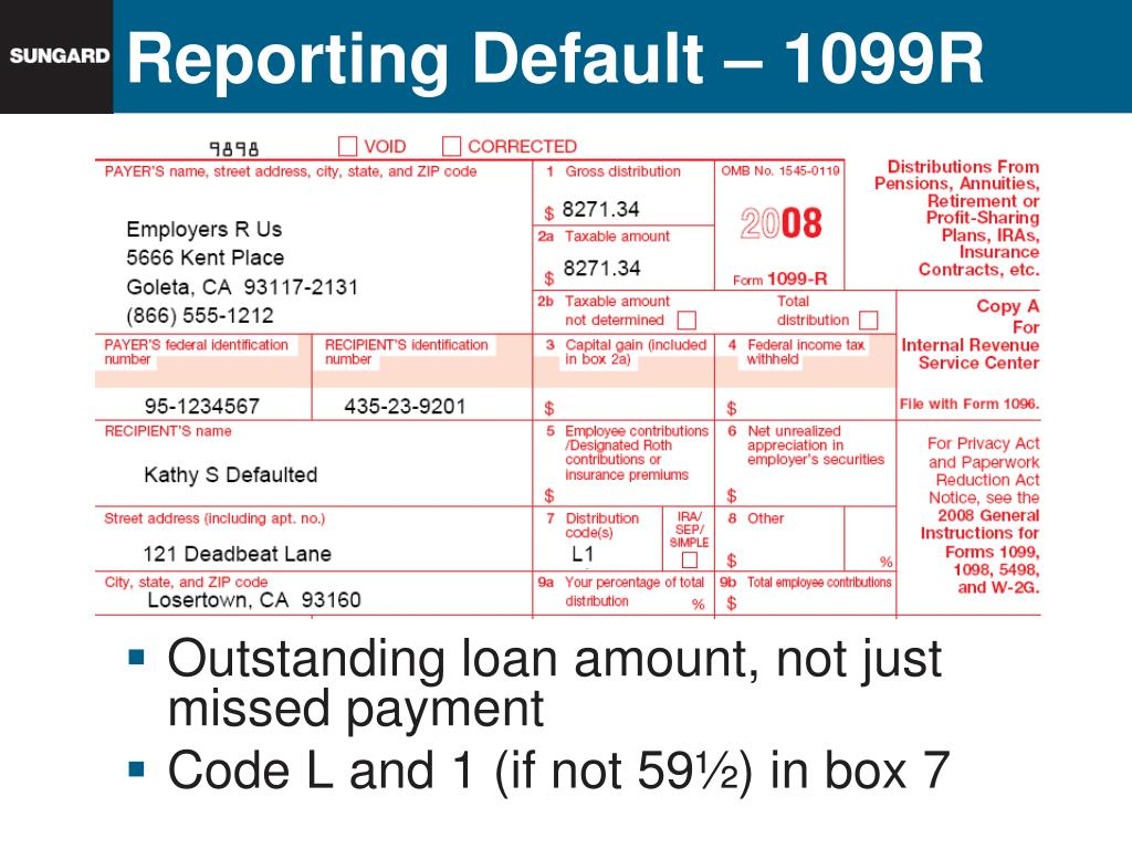 Reporting Default – 1099R