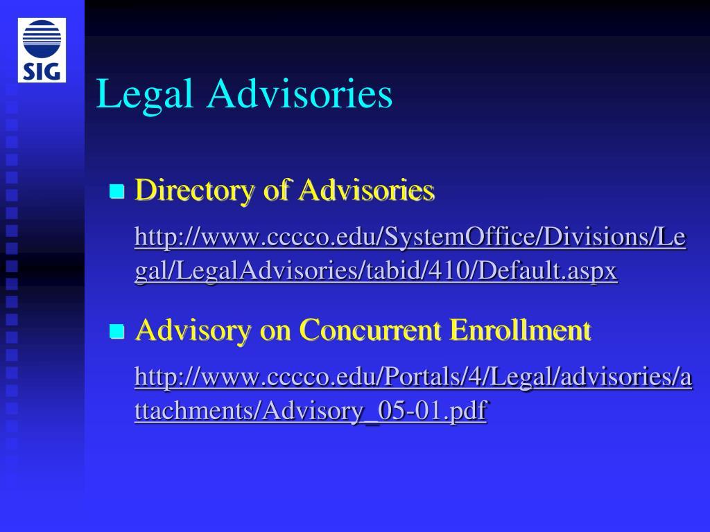 Legal Advisories