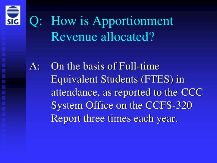 Q how is apportionment revenue allocated