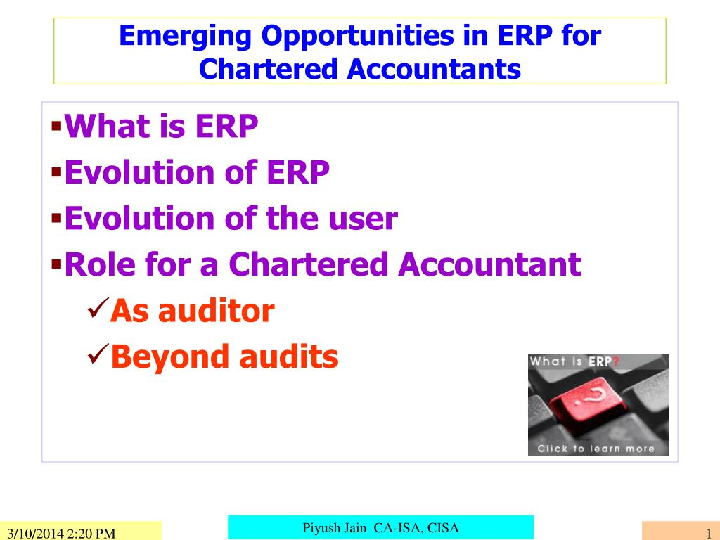 emerging opportunities in erp for chartered accountants l.