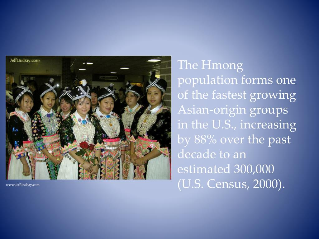 The Hmong population forms one of the fastest growing Asian-origin groups in the U.S., increasing by 88% over the past decade to an estimated 300,000 (U.S. Census, 2000).