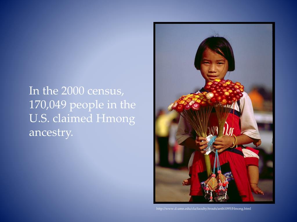 In the 2000 census, 170,049 people in the U.S. claimed Hmong ancestry.