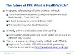 the future of ppi what is healthwatch