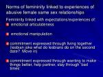 norms of femininity linked to experiences of abusive female same sex relationships