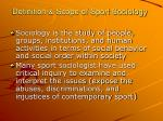 definition scope of sport sociology