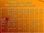 probabilities of males advancing in sports 1994