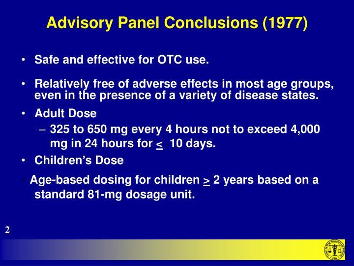 Advisory panel conclusions 1977