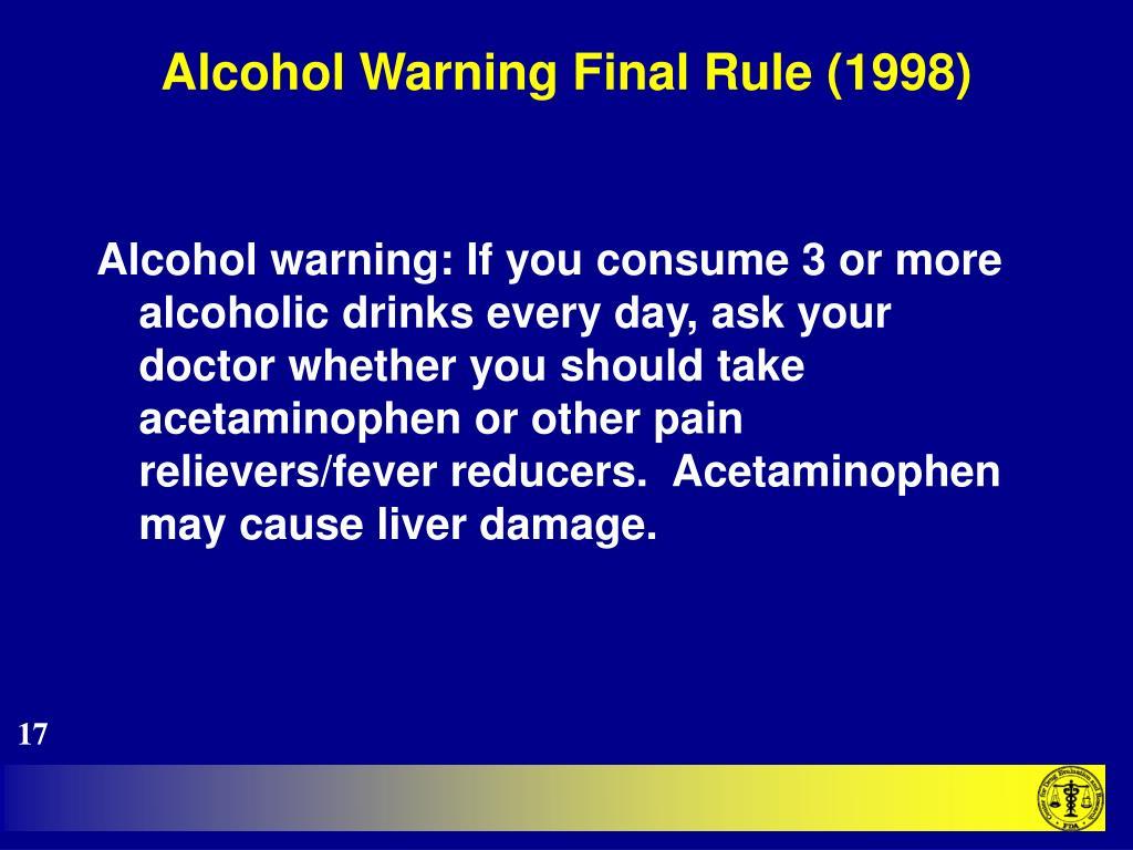 Alcohol Warning Final Rule (1998)