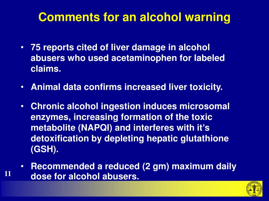 Comments for an alcohol warning