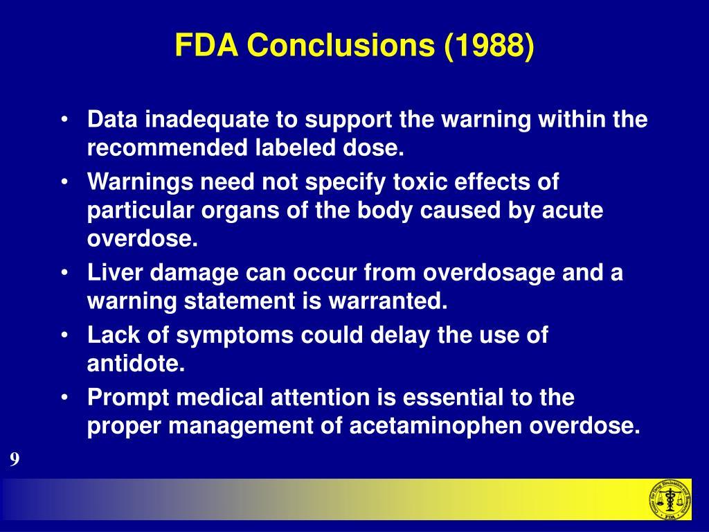 FDA Conclusions (1988)