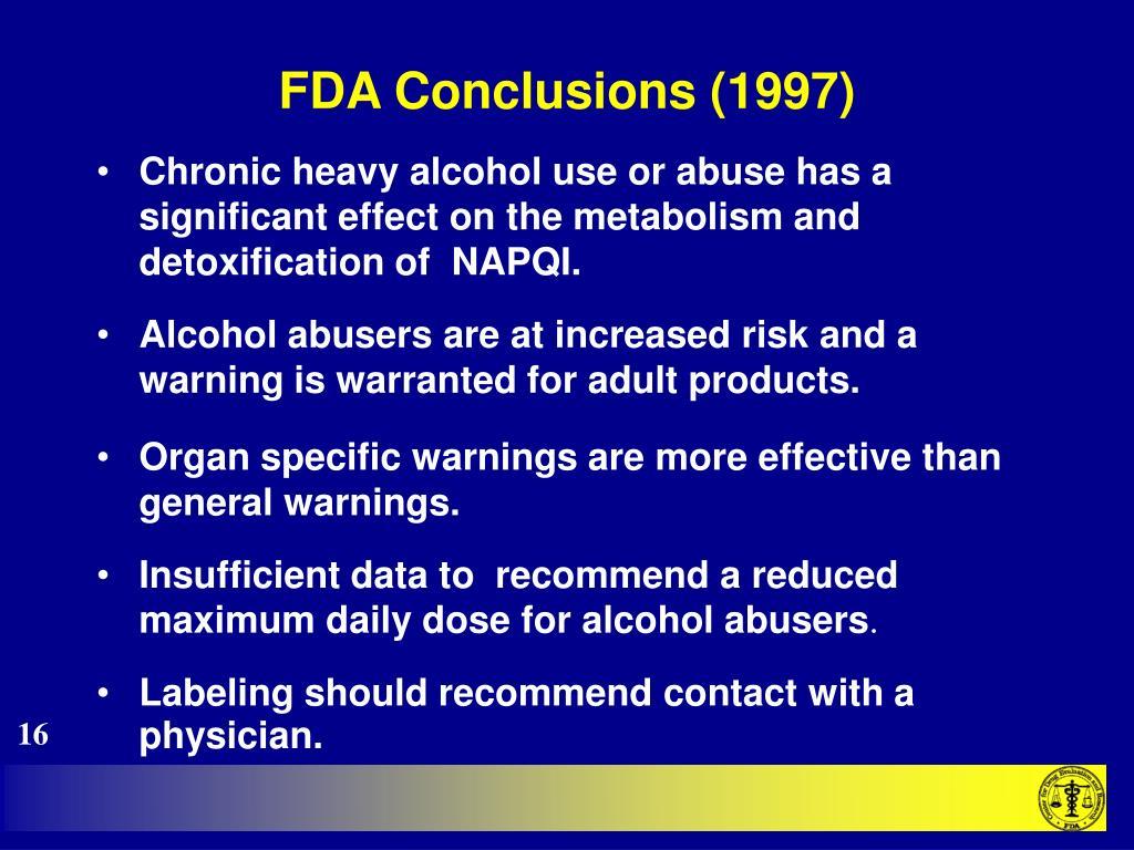 FDA Conclusions (1997)