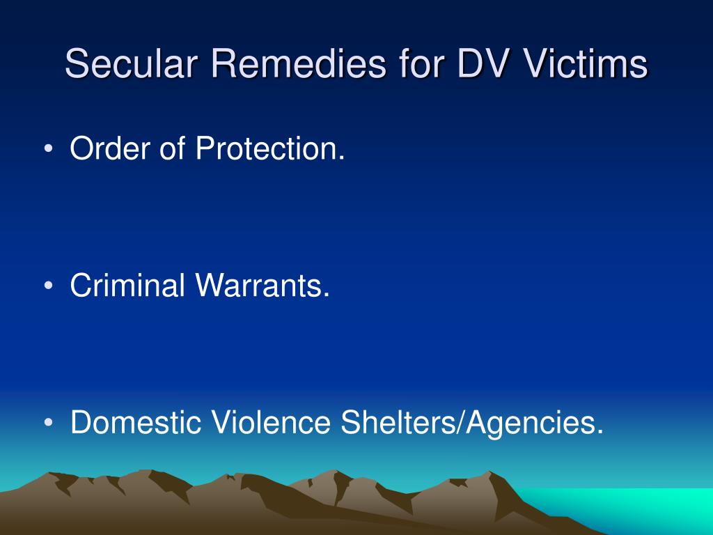 Secular Remedies for DV Victims
