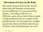 movement of gases in the body