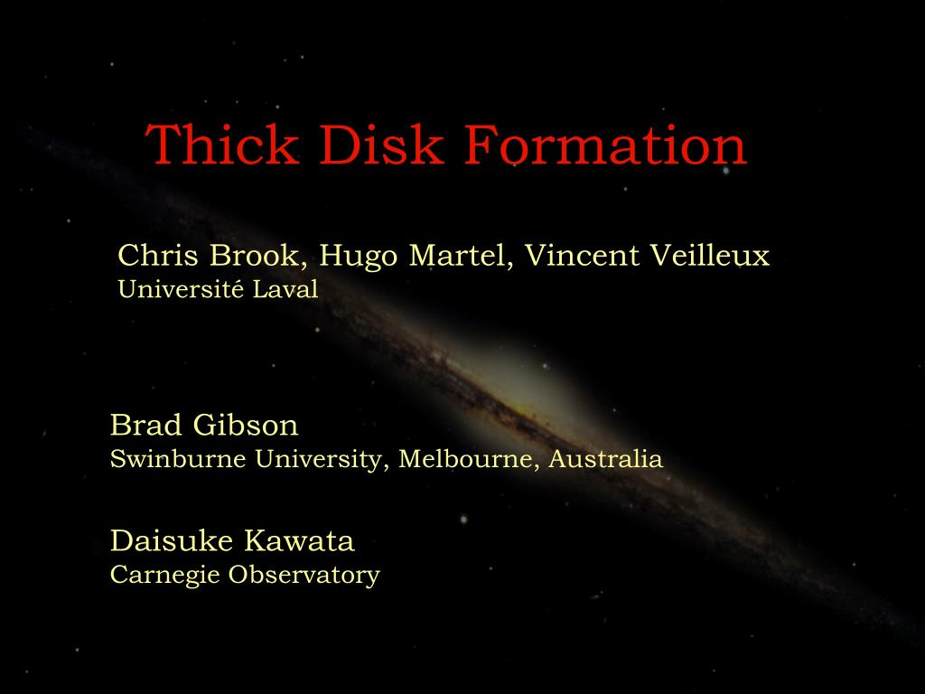 thick disk formation l.