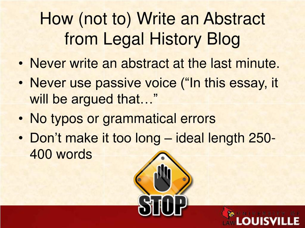 How (not to) Write an Abstract
