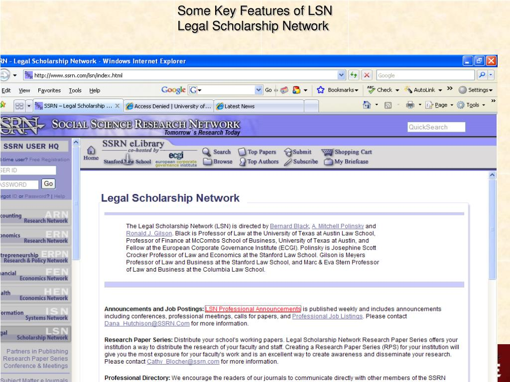 Some Key Features of LSN