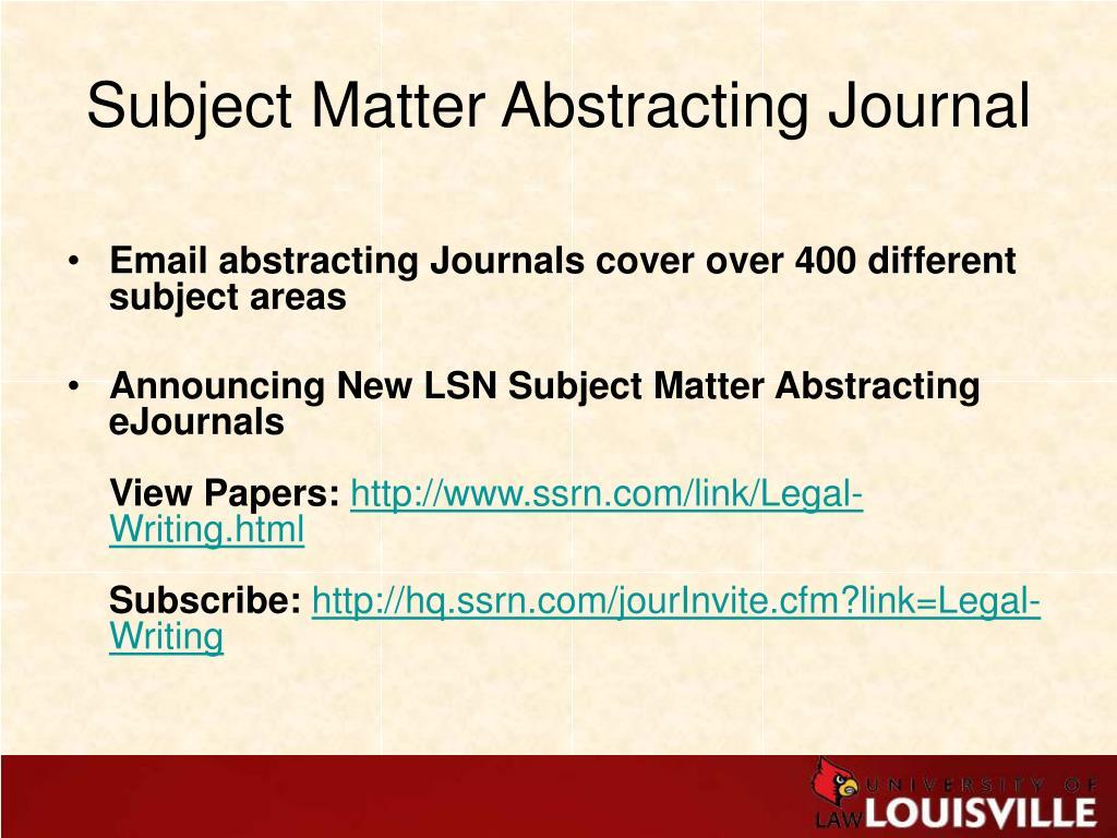 Subject Matter Abstracting Journal