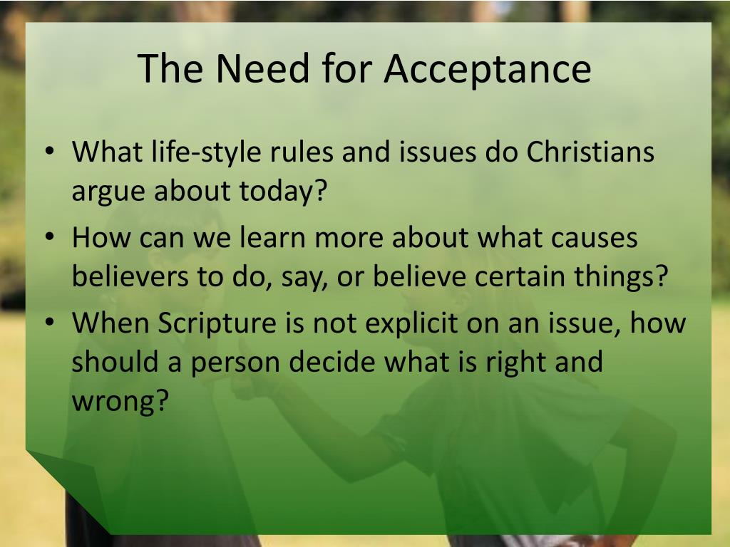 The Need for Acceptance