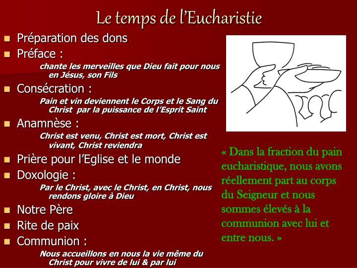 Le temps de l eucharistie