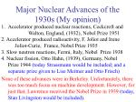 major nuclear advances of the 1930s my opinion