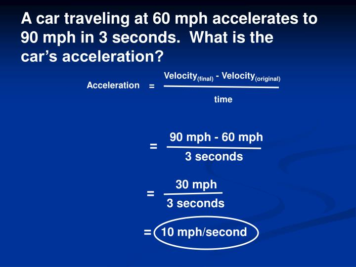A car traveling at 60 mph accelerates to
