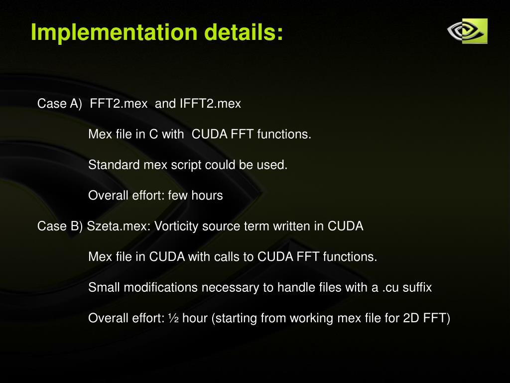 Implementation details: