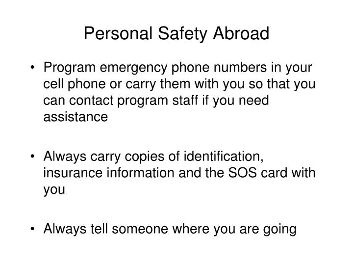 Personal Safety Abroad