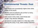environmental threats dust