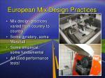 european mix design practices