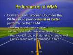 performance of wma
