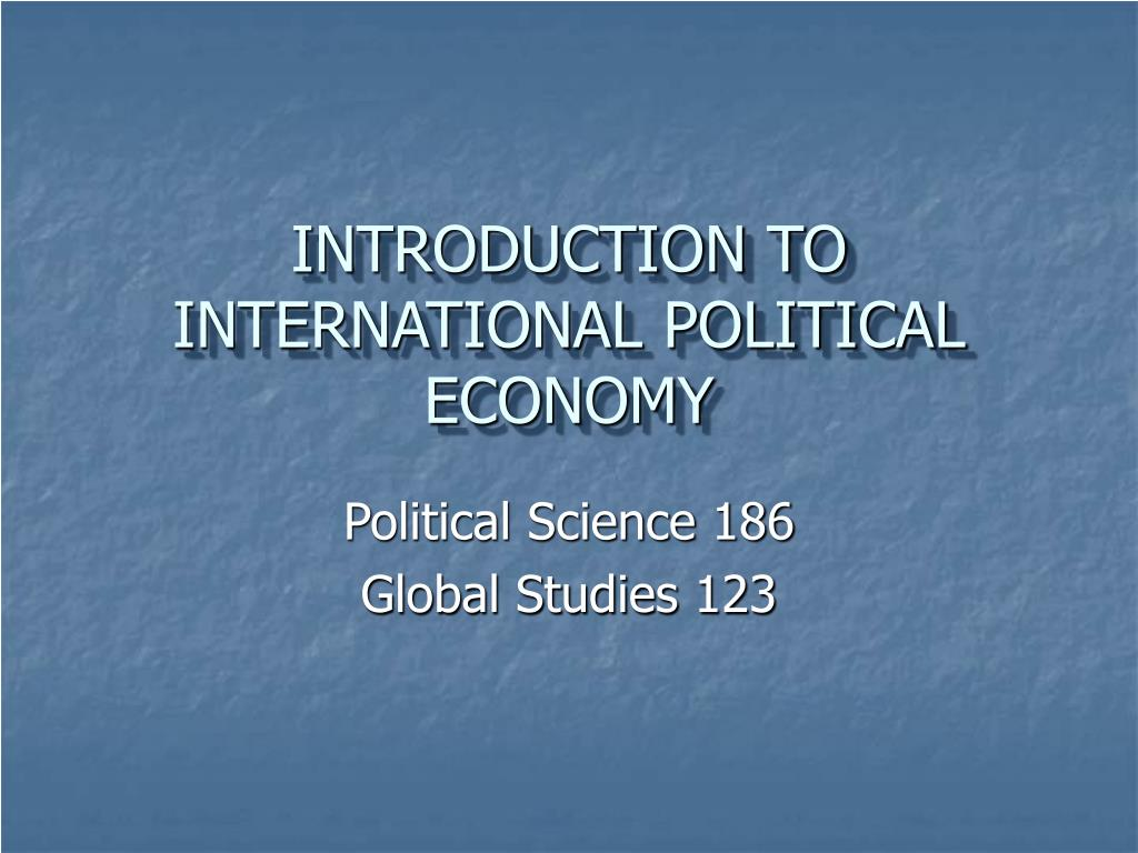 introduction to international political economy l.