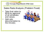 sales ratio analysis problem fixed