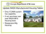 update nada manufactured housing tables