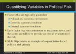 quantifying variables in political risk