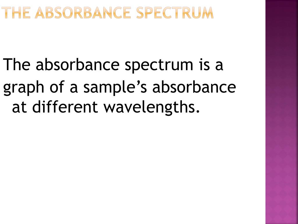 The Absorbance Spectrum