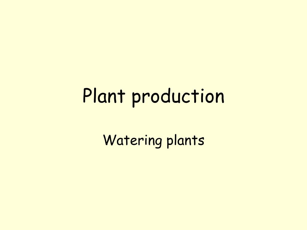 plant production l.