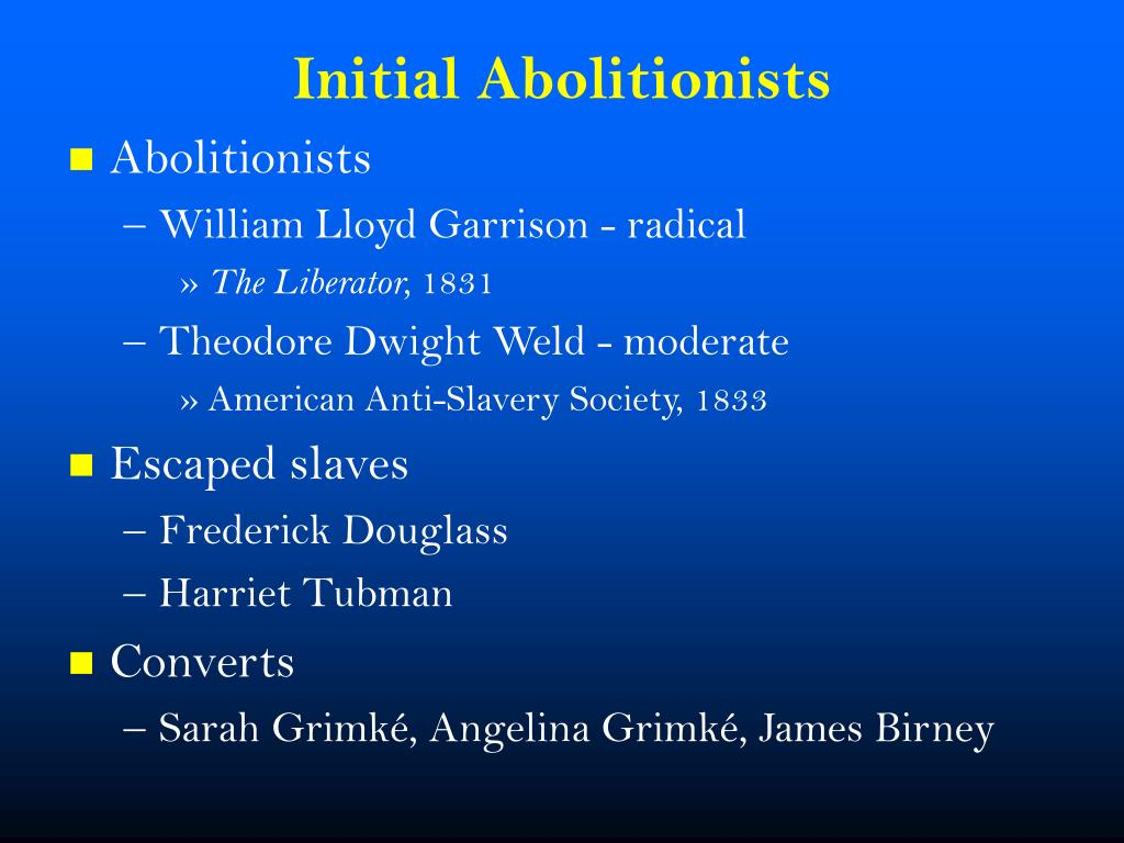 an analysis of the views on slavery by theodore dwight weld and william lloyd garrison