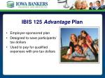 ibis 125 advantage plan